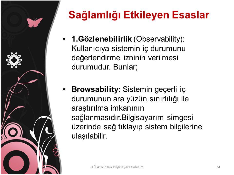 Sağlamlığı Etkileyen Esaslar 1.Gözlenebilirlik (Observability): Kullanıcıya sistemin iç durumunu değerlendirme izninin verilmesi durumudur.