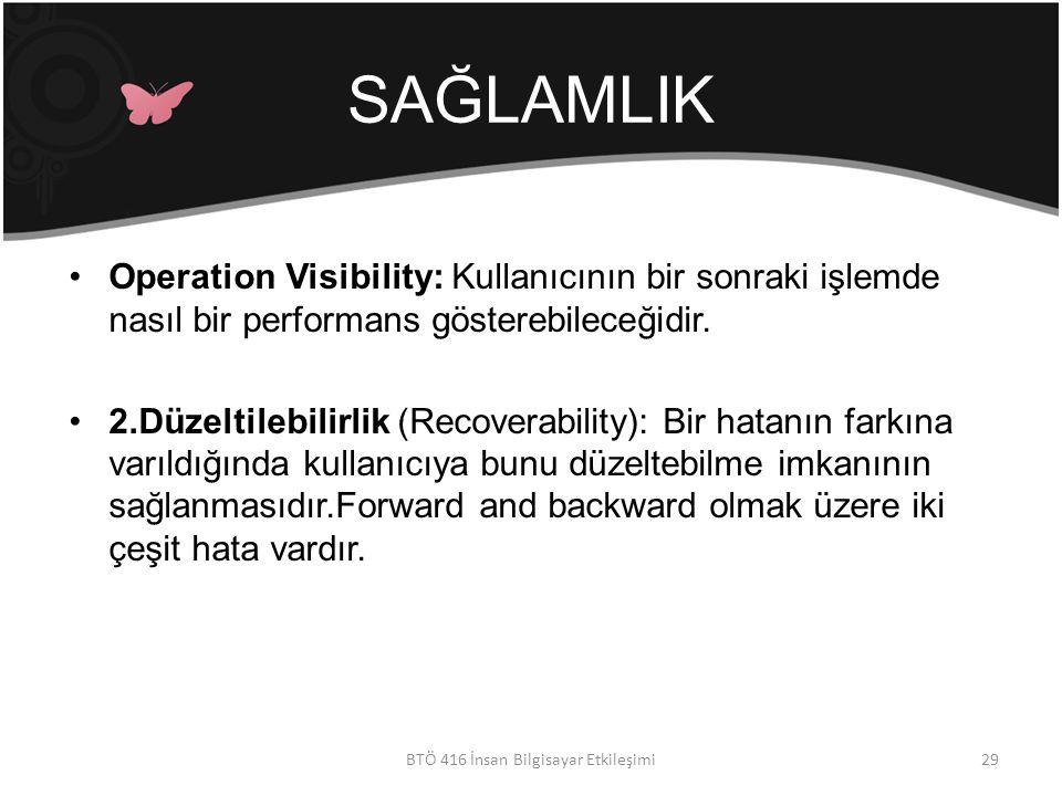 SAĞLAMLIK Operation Visibility: Kullanıcının bir sonraki işlemde nasıl bir performans gösterebileceğidir.