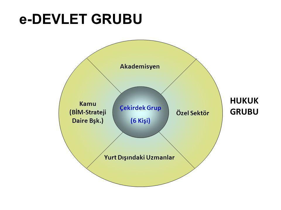 e-DEVLET GRUBU Akademisyen Özel Sektör Kamu (BİM-Strateji Daire Bşk.) Yurt Dışındaki Uzmanlar Çekirdek Grup (6 Kişi) HUKUK GRUBU