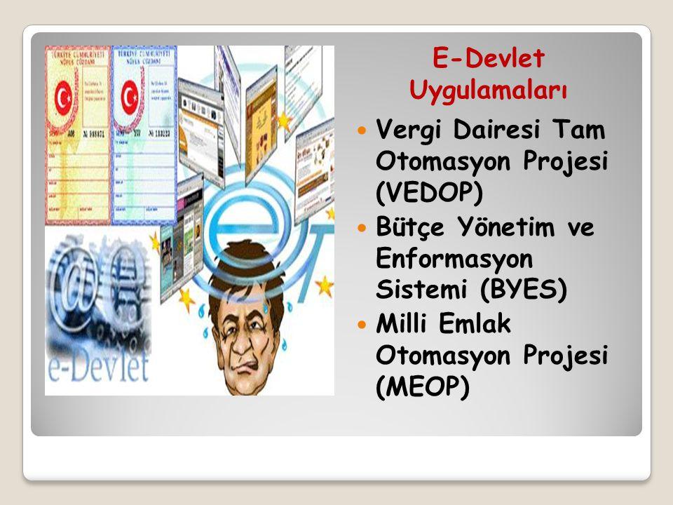 E-Devlet Uygulamaları Vergi Dairesi Tam Otomasyon Projesi (VEDOP) Bütçe Yönetim ve Enformasyon Sistemi (BYES) Milli Emlak Otomasyon Projesi (MEOP)