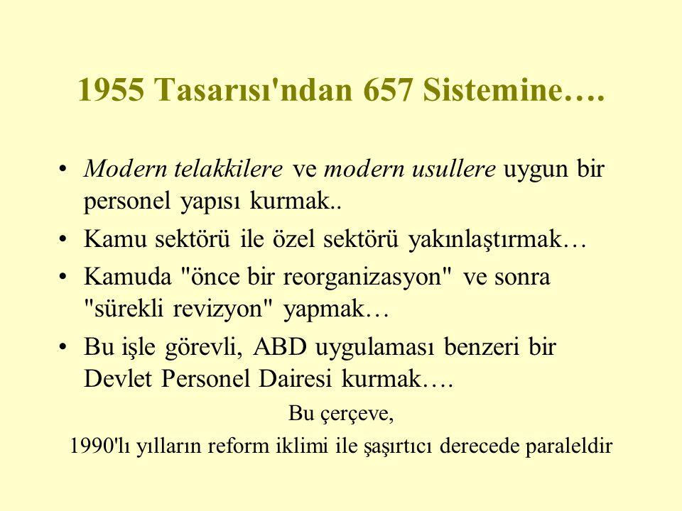 1955 Tasarısı'ndan 657 Sistemine…. Modern telakkilere ve modern usullere uygun bir personel yapısı kurmak.. Kamu sektörü ile özel sektörü yakınlaştırm