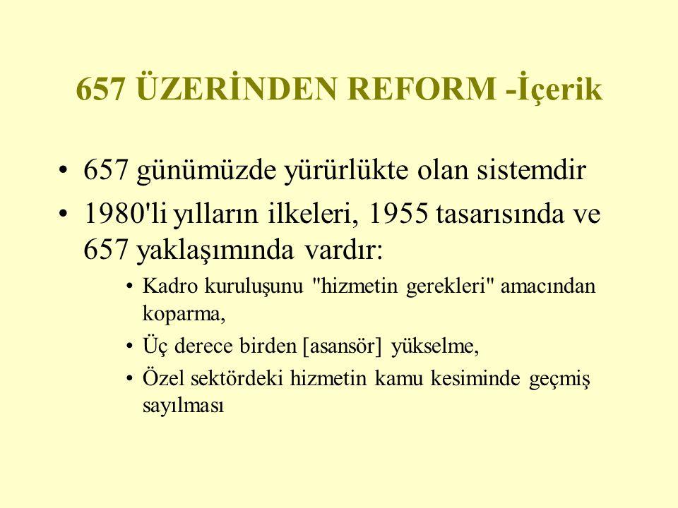 657 ÜZERİNDEN REFORM -İçerik 657 günümüzde yürürlükte olan sistemdir 1980'li yılların ilkeleri, 1955 tasarısında ve 657 yaklaşımında vardır: Kadro kur