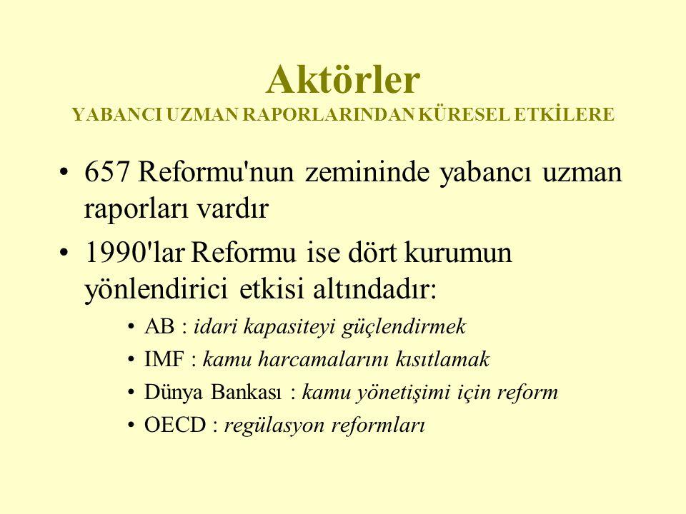 Aktörler YABANCI UZMAN RAPORLARINDAN KÜRESEL ETKİLERE 657 Reformu'nun zemininde yabancı uzman raporları vardır 1990'lar Reformu ise dört kurumun yönle