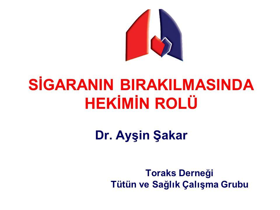 SİGARANIN BIRAKILMASINDA HEKİMİN ROLÜ Dr. Ayşin Şakar Toraks Derneği Tütün ve Sağlık Çalışma Grubu
