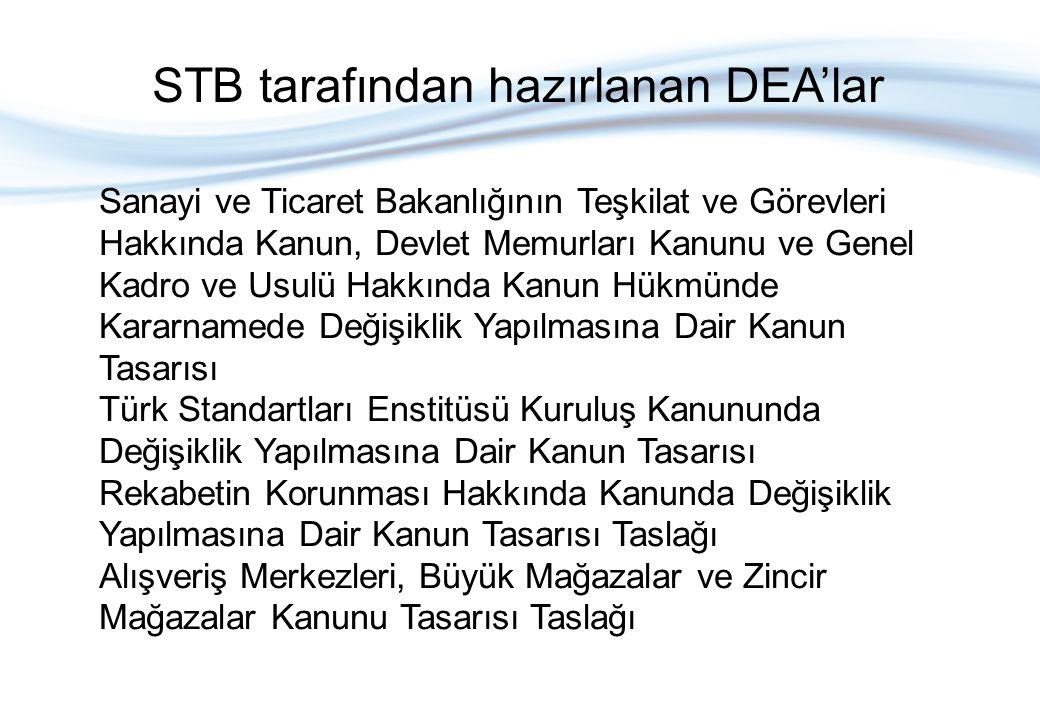 Sanayi ve Ticaret Bakanlığının Teşkilat ve Görevleri Hakkında Kanun, Devlet Memurları Kanunu ve Genel Kadro ve Usulü Hakkında Kanun Hükmünde Kararnamede Değişiklik Yapılmasına Dair Kanun Tasarısı Türk Standartları Enstitüsü Kuruluş Kanununda Değişiklik Yapılmasına Dair Kanun Tasarısı Rekabetin Korunması Hakkında Kanunda Değişiklik Yapılmasına Dair Kanun Tasarısı Taslağı Alışveriş Merkezleri, Büyük Mağazalar ve Zincir Mağazalar Kanunu Tasarısı Taslağı STB tarafından hazırlanan DEA'lar