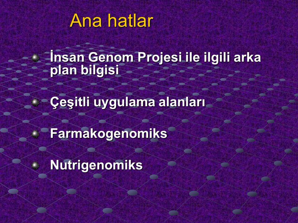 Nutrigenomics: Diet sinyalleri ve gıda sensörleri ■ Besinlerin onlar arcılığıyla gen ekspresyonu etkiledikleri başlıca ajanlar transkripsiyon faktörleridir.
