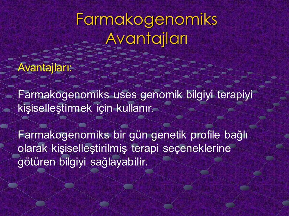Farmakogenomiks Avantajları Avantajları: Farmakogenomiks uses genomik bilgiyi terapiyi kişiselleştirmek için kullanır.
