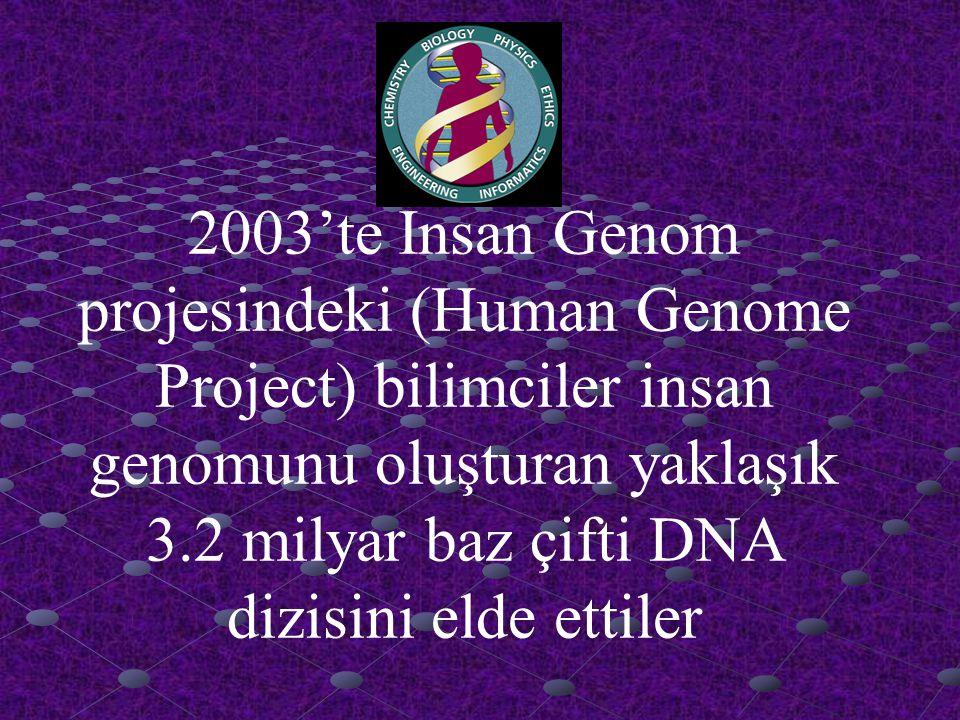 İnsan Genom Projesi (HGP) Hedefler Şunlardı: ■ İnsan DNA'sını oluşturan kimyasal baz çifti dizilimini belirlemek : ■ İnsan genomundaki yaklaşık gen sayısını belirlemek, ■ bu bilgileri veri tabanlarında saklamak, ■ veri analizi için araçları geliştirmek, ■ ilgili teknolojileri özel sektöre transfer, ve ■ Projeden dolayı doğabilecek bazı etik, legal, ve sosyal problemlere(ELSI) ele almak ve açıklık getirmek