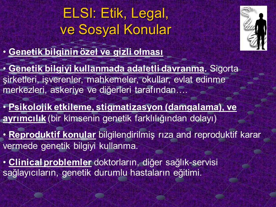ELSI: Etik, Legal, ve Sosyal Konular Genetik bilginin özel ve gizli olması Genetik bilgiyi kullanmada adaletli davranma.