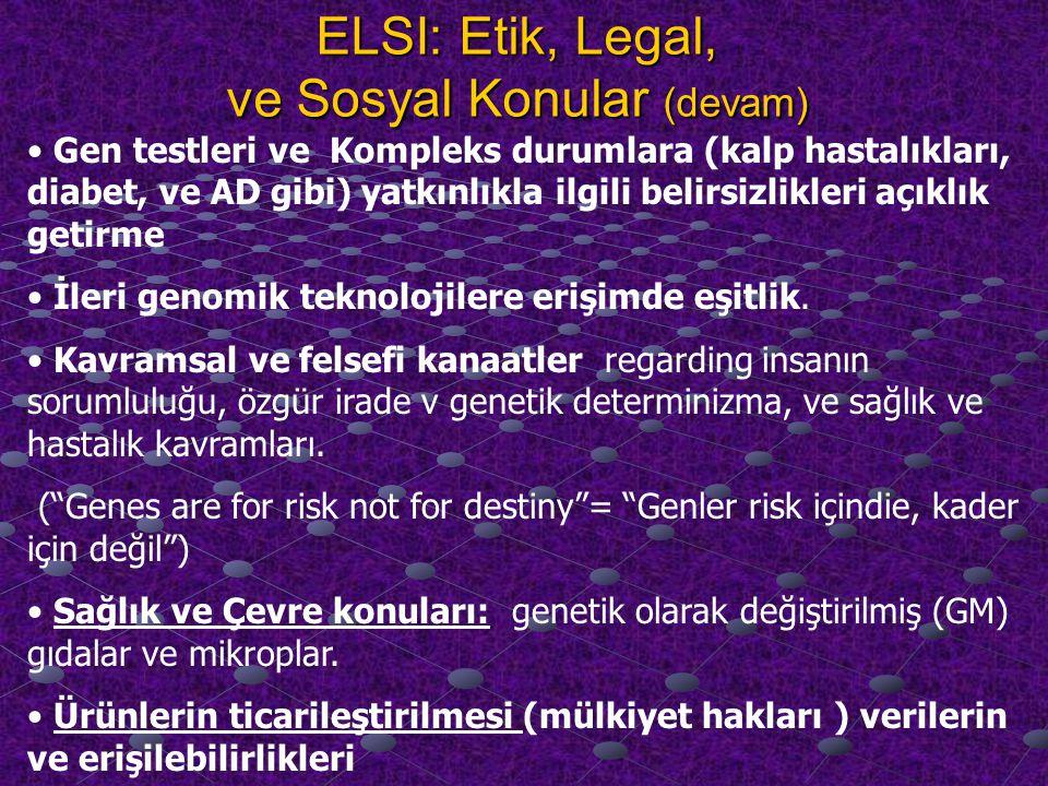 ELSI: Etik, Legal, ve Sosyal Konular (devam) Gen testleri ve Kompleks durumlara (kalp hastalıkları, diabet, ve AD gibi) yatkınlıkla ilgili belirsizlikleri açıklık getirme İleri genomik teknolojilere erişimde eşitlik.