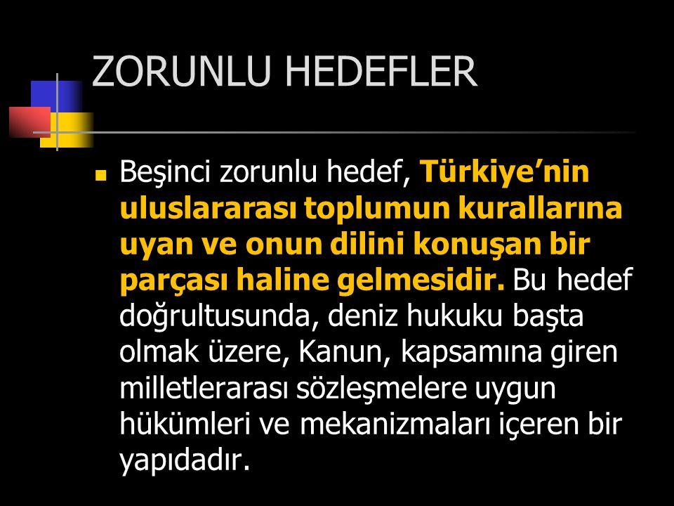 ZORUNLU HEDEFLER Beşinci zorunlu hedef, Türkiye'nin uluslararası toplumun kurallarına uyan ve onun dilini konuşan bir parçası haline gelmesidir. Bu he