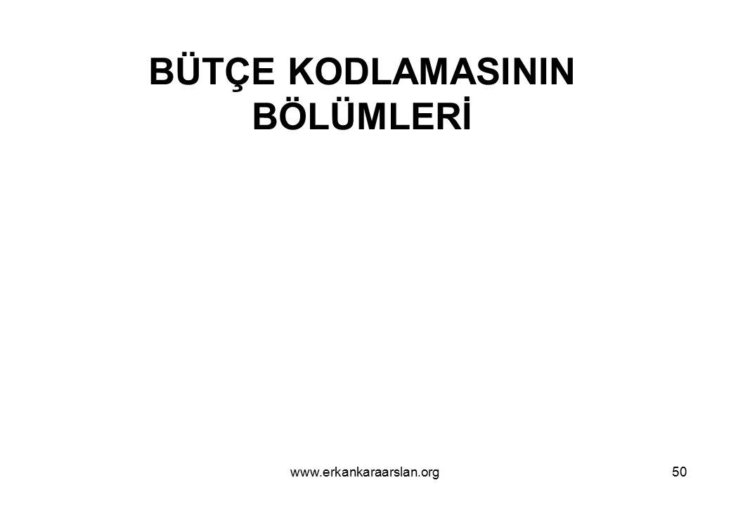 BÜTÇE KODLAMASININ BÖLÜMLERİ 51www.erkankaraarslan.org