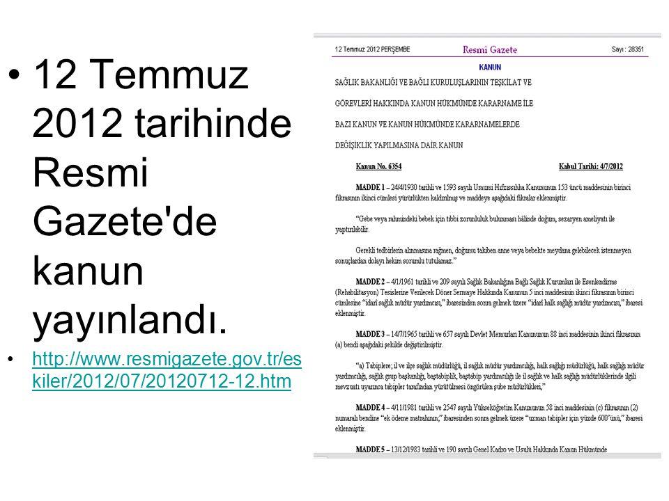 12 Temmuz 2012 tarihinde Resmi Gazete de kanun yayınlandı.