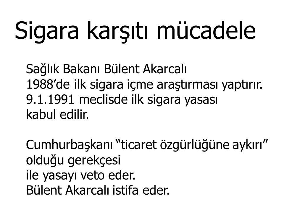 Sigara karşıtı mücadele Sağlık Bakanı Bülent Akarcalı 1988'de ilk sigara içme araştırması yaptırır. 9.1.1991 meclisde ilk sigara yasası kabul edilir.