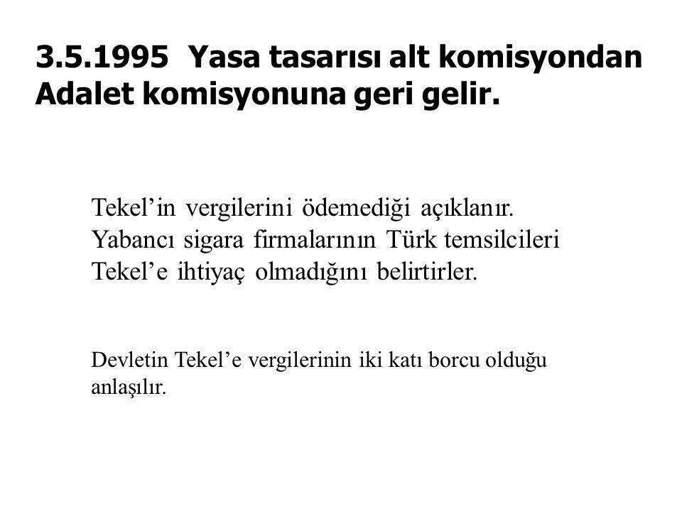 3.5.1995 Yasa tasarısı alt komisyondan Adalet komisyonuna geri gelir. Tekel'in vergilerini ödemediği açıklanır. Yabancı sigara firmalarının Türk temsi