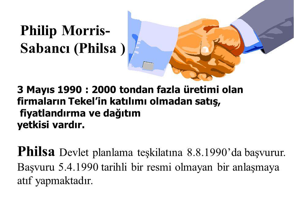 Philip Morris- Sabancı (Philsa ) 3 Mayıs 1990 : 2000 tondan fazla üretimi olan firmaların Tekel'in katılımı olmadan satış, fiyatlandırma ve dağıtım ye
