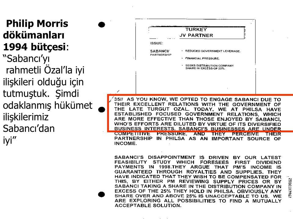 """Philip Morris dökümanları 1994 bütçesi: """"Sabancı'yı rahmetli Özal'la iyi ilişkileri olduğu için tutmuştuk. Şimdi odaklanmış hükümet ilişkilerimiz Saba"""