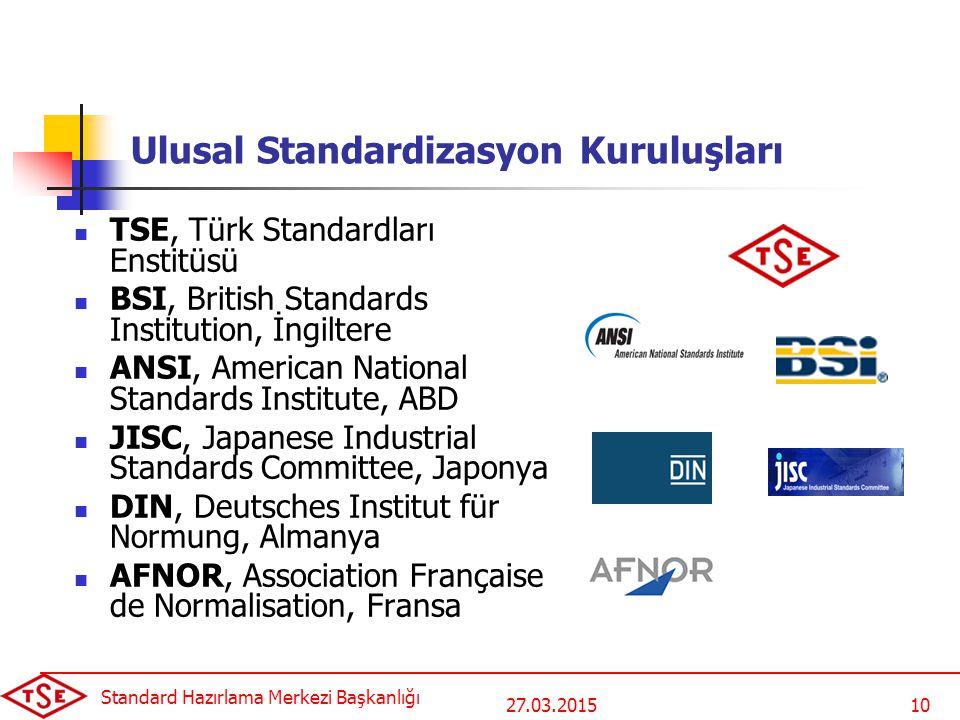 27.03.2015 Standard Hazırlama Merkezi Başkanlığı 10 Ulusal Standardizasyon Kuruluşları TSE, Türk Standardları Enstitüsü BSI, British Standards Institu