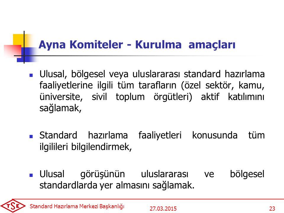 27.03.2015 Standard Hazırlama Merkezi Başkanlığı 23 Ayna Komiteler - Kurulma amaçları Ulusal, bölgesel veya uluslararası standard hazırlama faaliyetle