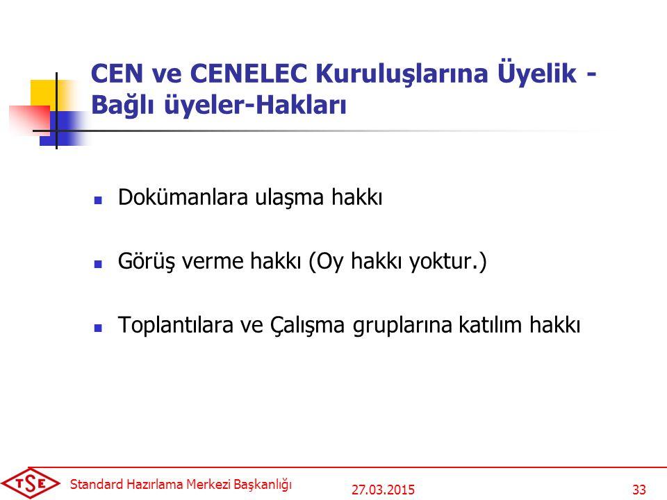27.03.2015 Standard Hazırlama Merkezi Başkanlığı 33 CEN ve CENELEC Kuruluşlarına Üyelik - Bağlı üyeler-Hakları Dokümanlara ulaşma hakkı Görüş verme ha