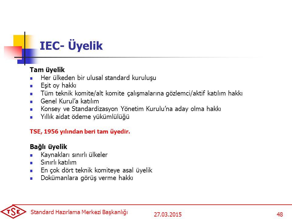 27.03.2015 Standard Hazırlama Merkezi Başkanlığı 48 IEC- Üyelik Tam üyelik Her ülkeden bir ulusal standard kuruluşu Eşit oy hakkı Tüm teknik komite/al