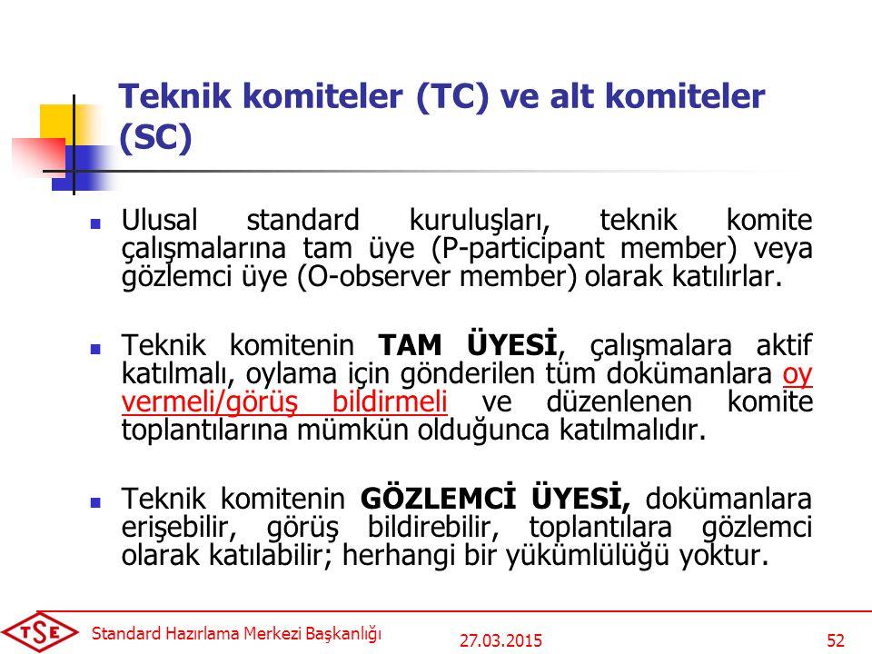 27.03.2015 Standard Hazırlama Merkezi Başkanlığı 52 Teknik komiteler (TC) ve alt komiteler (SC) Ulusal standard kuruluşları, teknik komite çalışmaları