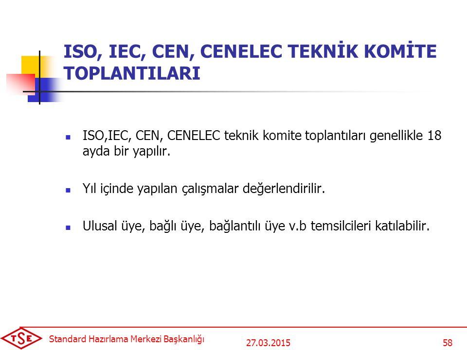 27.03.2015 Standard Hazırlama Merkezi Başkanlığı 58 ISO, IEC, CEN, CENELEC TEKNİK KOMİTE TOPLANTILARI ISO,IEC, CEN, CENELEC teknik komite toplantıları