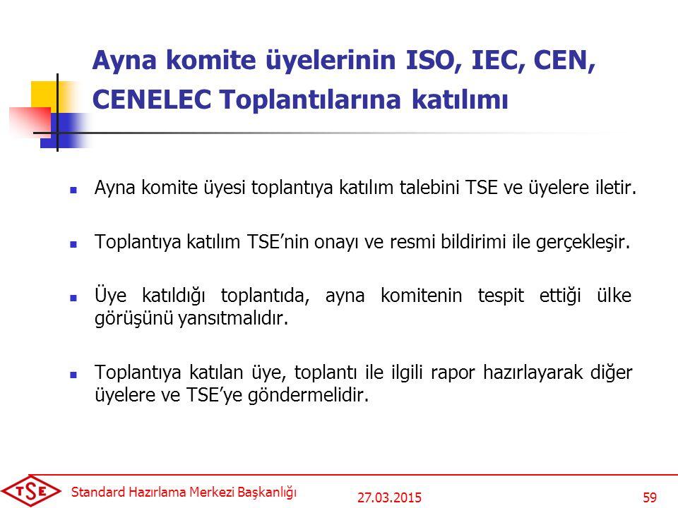 27.03.2015 Standard Hazırlama Merkezi Başkanlığı 59 Ayna komite üyelerinin ISO, IEC, CEN, CENELEC Toplantılarına katılımı Ayna komite üyesi toplantıya