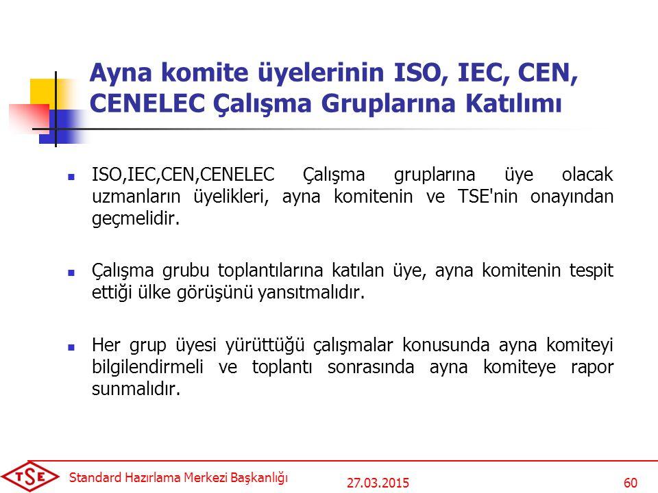 27.03.2015 Standard Hazırlama Merkezi Başkanlığı 60 Ayna komite üyelerinin ISO, IEC, CEN, CENELEC Çalışma Gruplarına Katılımı ISO,IEC,CEN,CENELEC Çalışma gruplarına üye olacak uzmanların üyelikleri, ayna komitenin ve TSE nin onayından geçmelidir.