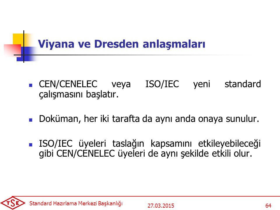 27.03.2015 Standard Hazırlama Merkezi Başkanlığı 64 Viyana ve Dresden anlaşmaları CEN/CENELEC veya ISO/IEC yeni standard çalışmasını başlatır.