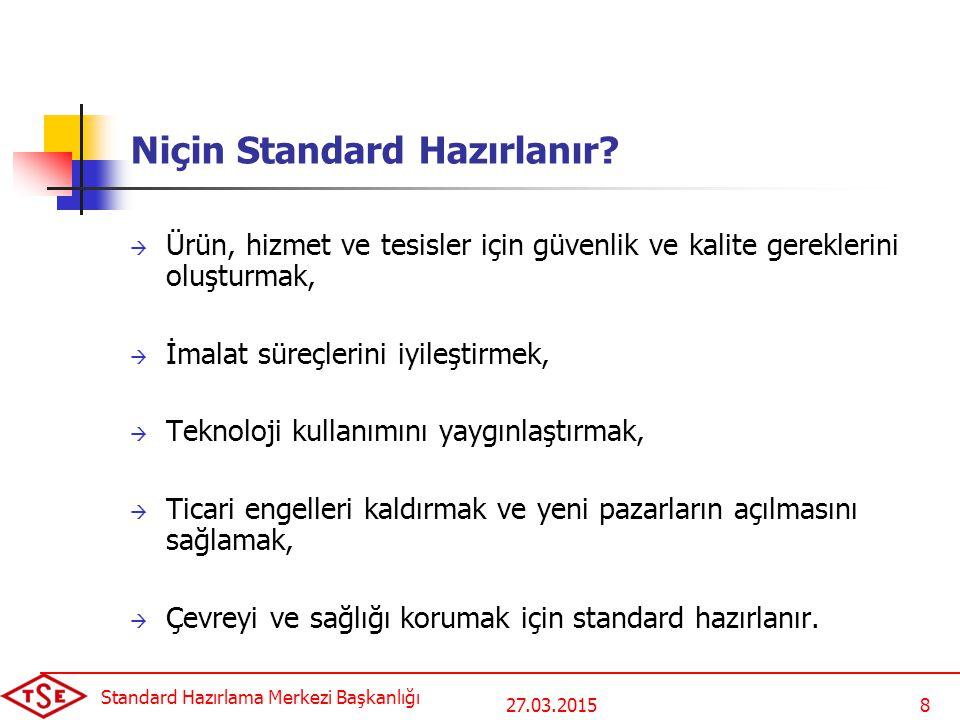 27.03.2015 Standard Hazırlama Merkezi Başkanlığı 8 Niçin Standard Hazırlanır.