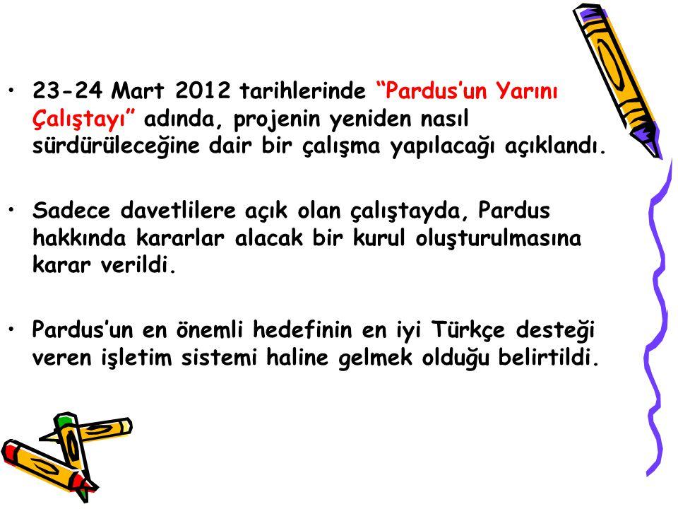 """23-24 Mart 2012 tarihlerinde """"Pardus'un Yarını Çalıştayı"""" adında, projenin yeniden nasıl sürdürüleceğine dair bir çalışma yapılacağı açıklandı. Sadece"""