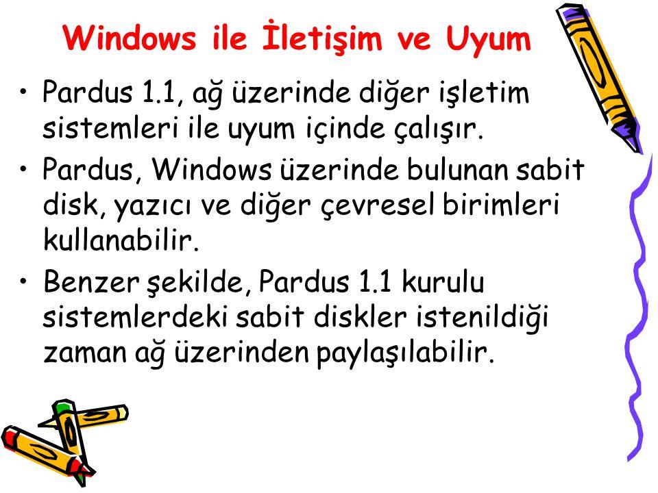 Windows ile İletişim ve Uyum Pardus 1.1, ağ üzerinde diğer işletim sistemleri ile uyum içinde çalışır. Pardus, Windows üzerinde bulunan sabit disk, ya