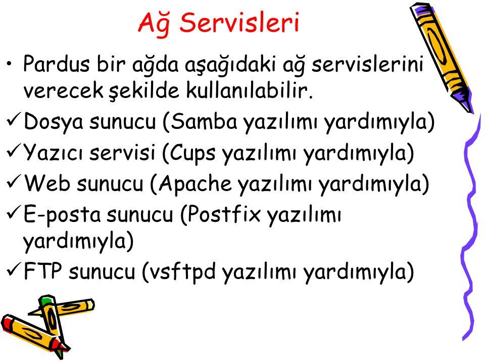 Ağ Servisleri Pardus bir ağda aşağıdaki ağ servislerini verecek şekilde kullanılabilir. Dosya sunucu (Samba yazılımı yardımıyla) Yazıcı servisi (Cups