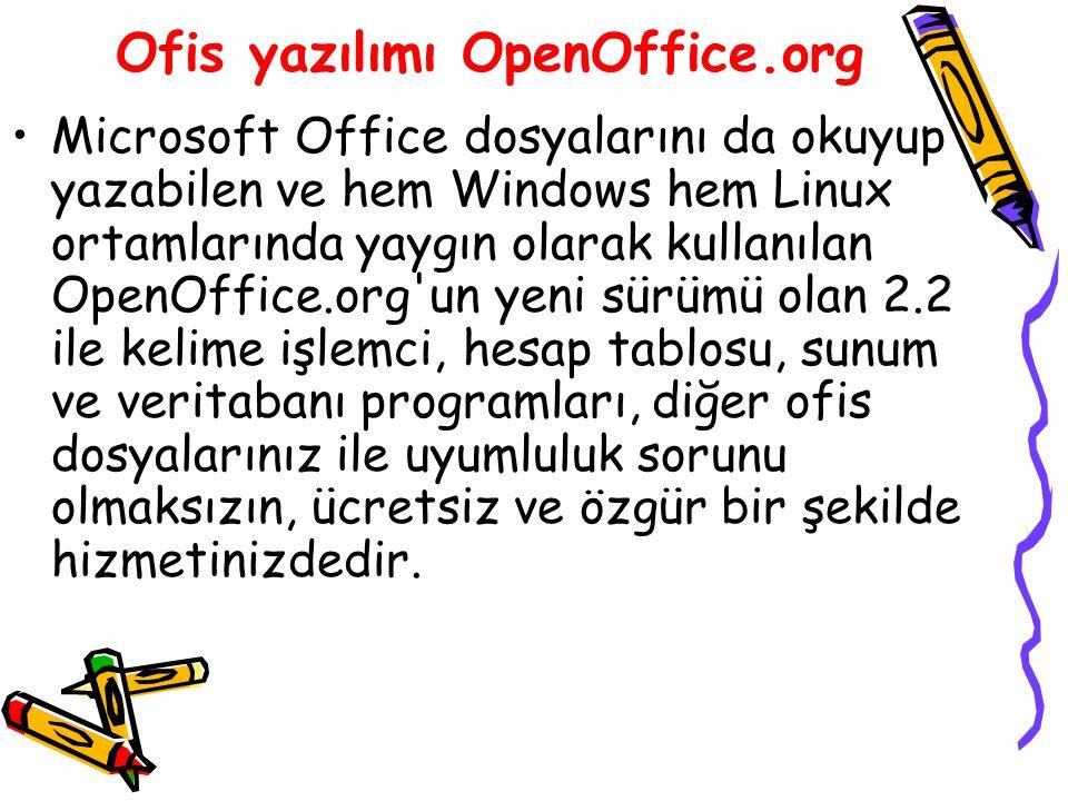 Ofis yazılımı OpenOffice.org Microsoft Office dosyalarını da okuyup yazabilen ve hem Windows hem Linux ortamlarında yaygın olarak kullanılan OpenOffic