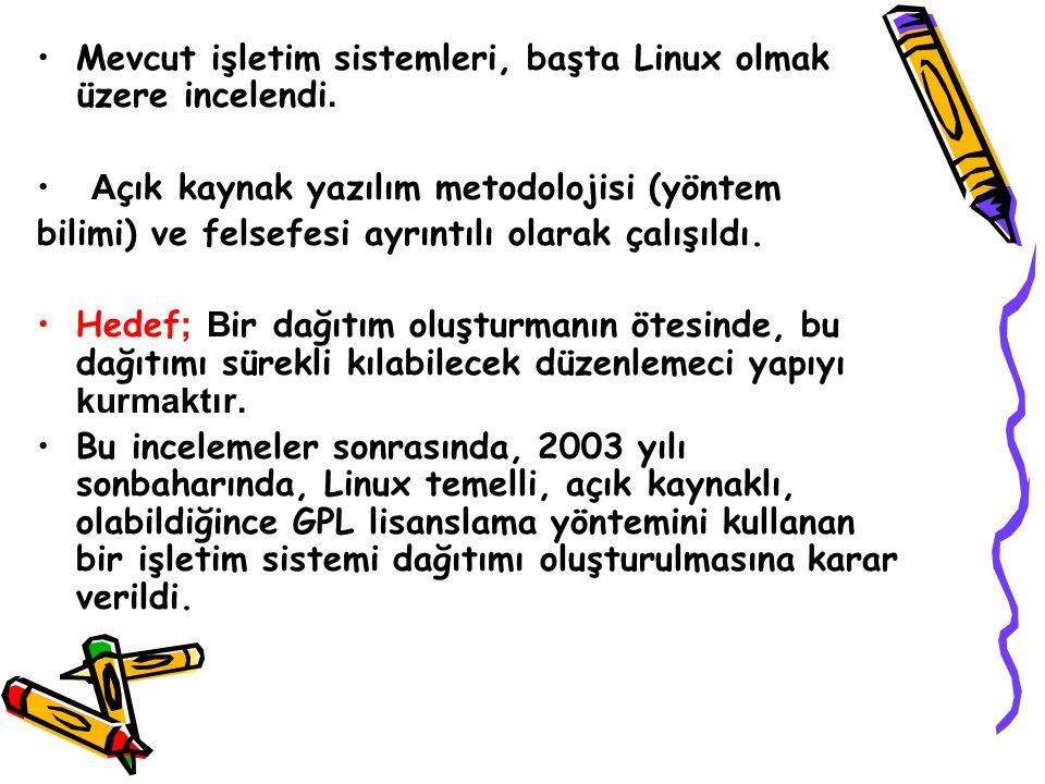 Mevcut işletim sistemleri, başta Linux olmak üzere incelendi. A çık kaynak yazılım metodolojisi (yöntem bilimi) ve felsefesi ayrıntılı olarak çalışıld