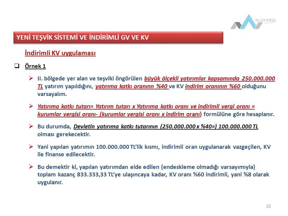 22 İndirimli KV uygulaması  Örnek 1  II.