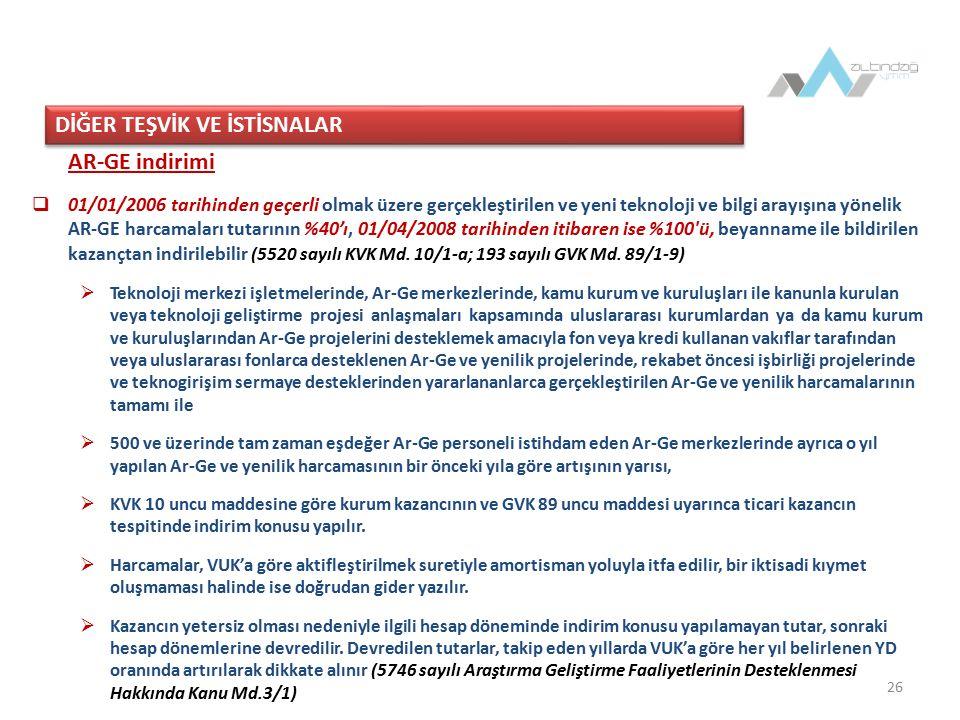 26 AR-GE indirimi  01/01/2006 tarihinden geçerli olmak üzere gerçekleştirilen ve yeni teknoloji ve bilgi arayışına yönelik AR-GE harcamaları tutarının %40'ı, 01/04/2008 tarihinden itibaren ise %100 ü, beyanname ile bildirilen kazançtan indirilebilir (5520 sayılı KVK Md.