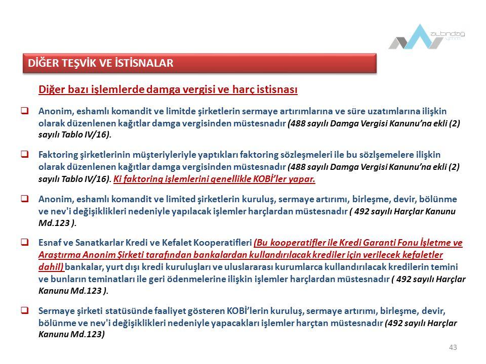 44 BSMV İstisnası (6802 sayılı Gider Vergileri Kanunu)  Türkiye Halk Bankası'nın ihtisas kredileri kapsamında KOBİ'lere verdiği krediler ya da  Bu işletmelerin dış ticaret işlemlerine yaptığı aracılık hizmetleri dolayısıyla aldığı paralar ile  Esnaf ve Sanatkârlar Kefalet Kooperatifleri'nin kefaleti altında esnaf ve sanatkârlara verdiği krediler dolayısıyla alınan paralar ve bu kooperatiflerin ortaklarından masraf karşılığı adıyla aldığı paralar BSMV'den müstesnadır (6802 sayılı Kanun Md.