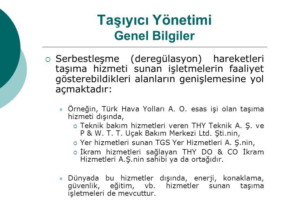 Taşıyıcı Yönetimi Genel Bilgiler  Serbestleşme (deregülasyon) hareketleri taşıma hizmeti sunan işletmelerin faaliyet gösterebildikleri alanların genişlemesine yol açmaktadır: Örneğin, Türk Hava Yolları A.