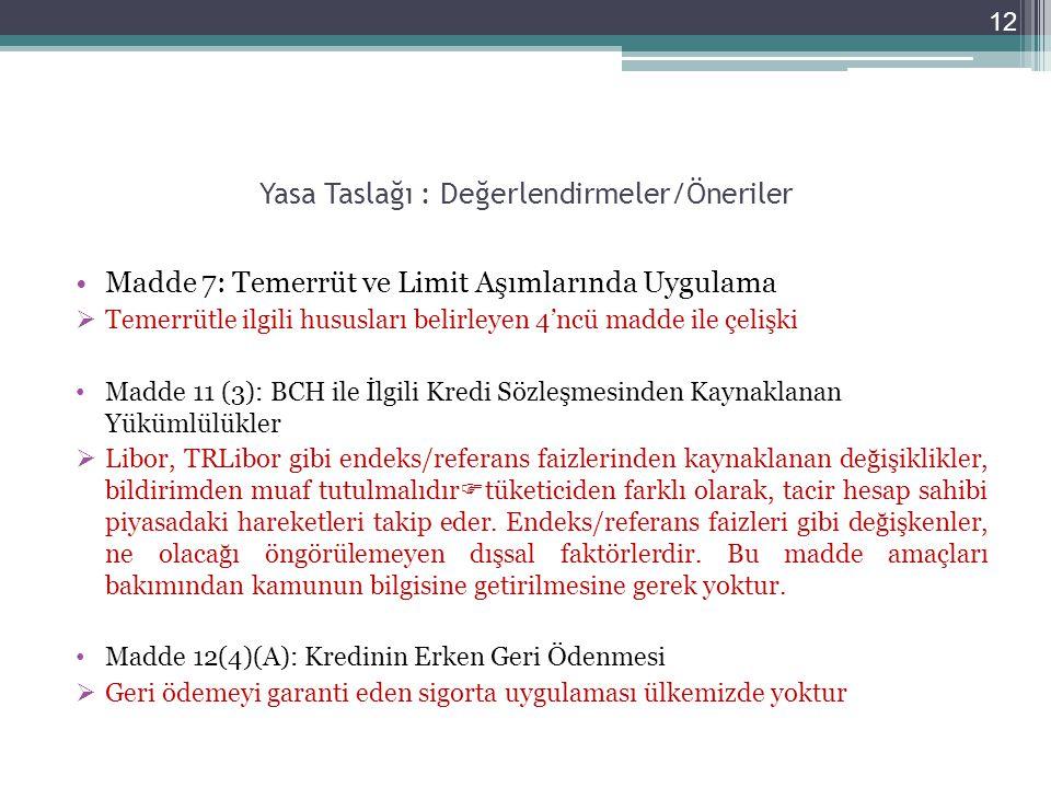 Yasa Taslağı : Değerlendirmeler/Öneriler Madde 7: Temerrüt ve Limit Aşımlarında Uygulama  Temerrütle ilgili hususları belirleyen 4'ncü madde ile çeli