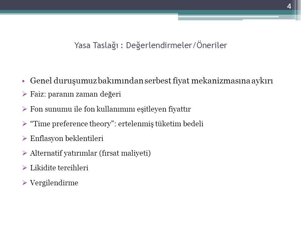5 Yasa Taslağı : Değerlendirmeler/Öneriler Amaç ve Kapsam Yasanın amacı ülke ekonomisinin gerekli kıldığı para ve kredi politikaları çerçevesinde, Kuzey Kıbrıs Türk Cumhuriyeti'nde borç ilişkilerinde uygulanacak faiz oranları ve faiz oranlarına ilişkin hususları belirlemek, yetkili kurumların yetkileri, şeffaflıkla ilgili yükümlülükleri, sözleşme ve sözleşmeye ilişkin hak ve kuralları düzenlemek ve uygulamayı yeknesak hale getirmek  Yasa nın amacı, genel anlamı ile faiz oranlarının belirlenmesi değildir.