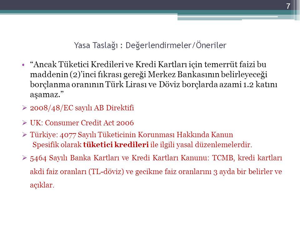 Yasa Taslağı : Değerlendirmeler/Öneriler Ancak Tüketici Kredileri ve Kredi Kartları için temerrüt faizi bu maddenin (2)'inci fıkrası gereği Merkez Bankasının belirleyeceği borçlanma oranının Türk Lirası ve Döviz borçlarda azami 1.2 katını aşamaz.  2008/48/EC sayılı AB Direktifi  UK: Consumer Credit Act 2006  Türkiye: 4077 Sayılı Tüketicinin Korunması Hakkında Kanun Spesifik olarak tüketici kredileri ile ilgili yasal düzenlemelerdir.