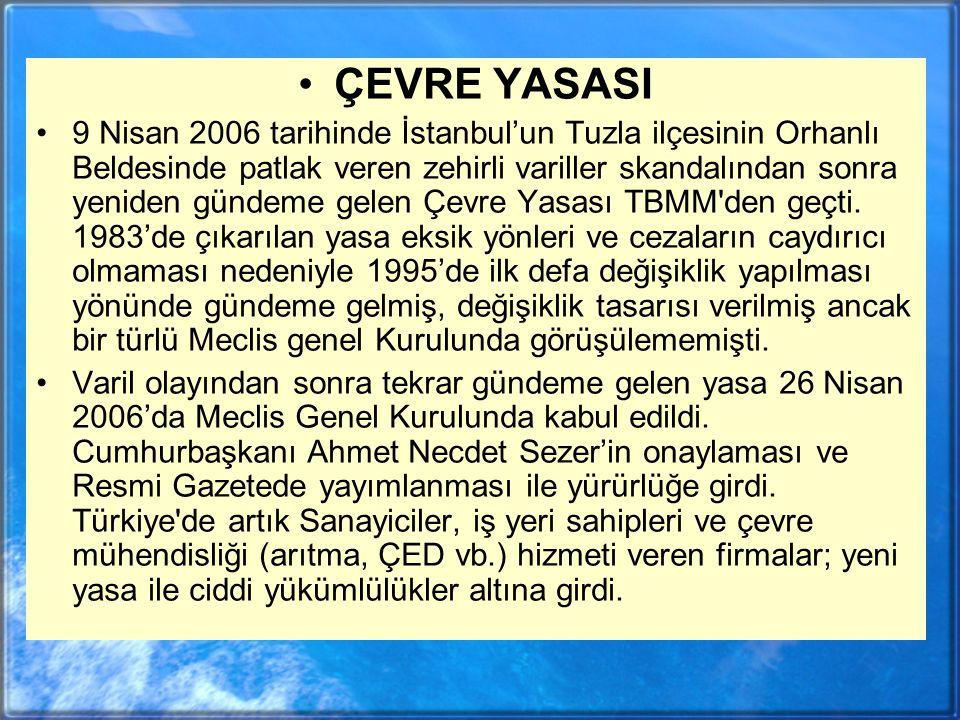 ÇEVRE YASASI 9 Nisan 2006 tarihinde İstanbul'un Tuzla ilçesinin Orhanlı Beldesinde patlak veren zehirli variller skandalından sonra yeniden gündeme gelen Çevre Yasası TBMM den geçti.