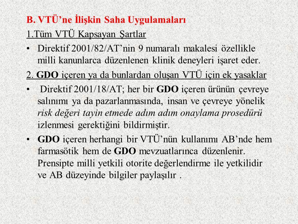 2.GDO içeren ya da bunlardan oluşan VTÜ için ek yasaklar Direktif 90/219/AT;GDO içeren VTÜ için hazırlanmıştır ve tüm Avrupa Birliği üye ülkelerinde u