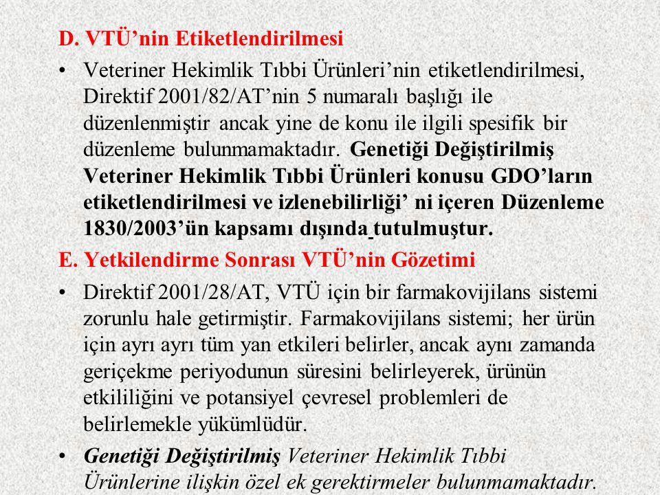 2.GDO içeren ya da bunlardan oluşan VTÜ için ek yasaklar Düzenleme 2309/93/AT, belirli biyoteknolojik süreçlerden geçen tıp ürünlerinin merkezi prosed