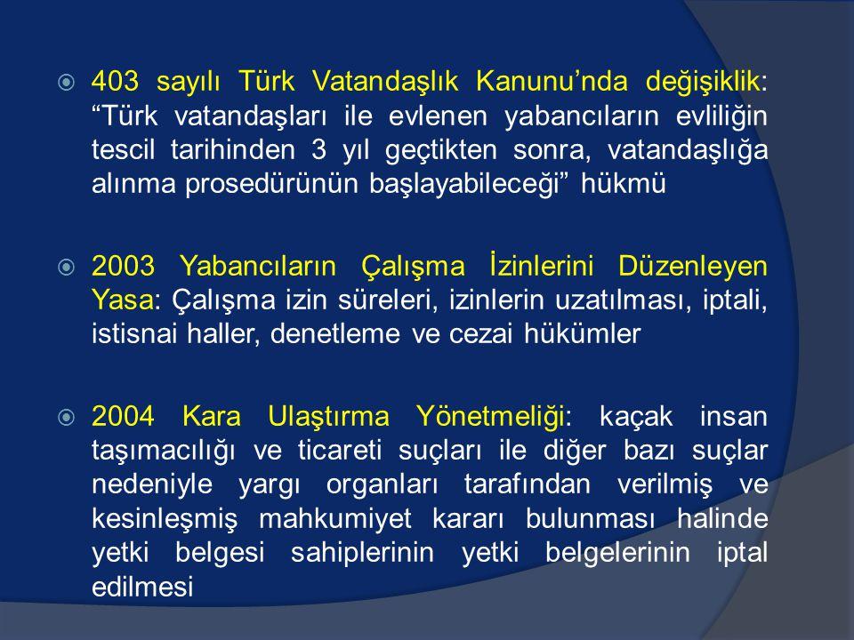  403 sayılı Türk Vatandaşlık Kanunu'nda değişiklik: Türk vatandaşları ile evlenen yabancıların evliliğin tescil tarihinden 3 yıl geçtikten sonra, vatandaşlığa alınma prosedürünün başlayabileceği hükmü  2003 Yabancıların Çalışma İzinlerini Düzenleyen Yasa: Çalışma izin süreleri, izinlerin uzatılması, iptali, istisnai haller, denetleme ve cezai hükümler  2004 Kara Ulaştırma Yönetmeliği: kaçak insan taşımacılığı ve ticareti suçları ile diğer bazı suçlar nedeniyle yargı organları tarafından verilmiş ve kesinleşmiş mahkumiyet kararı bulunması halinde yetki belgesi sahiplerinin yetki belgelerinin iptal edilmesi