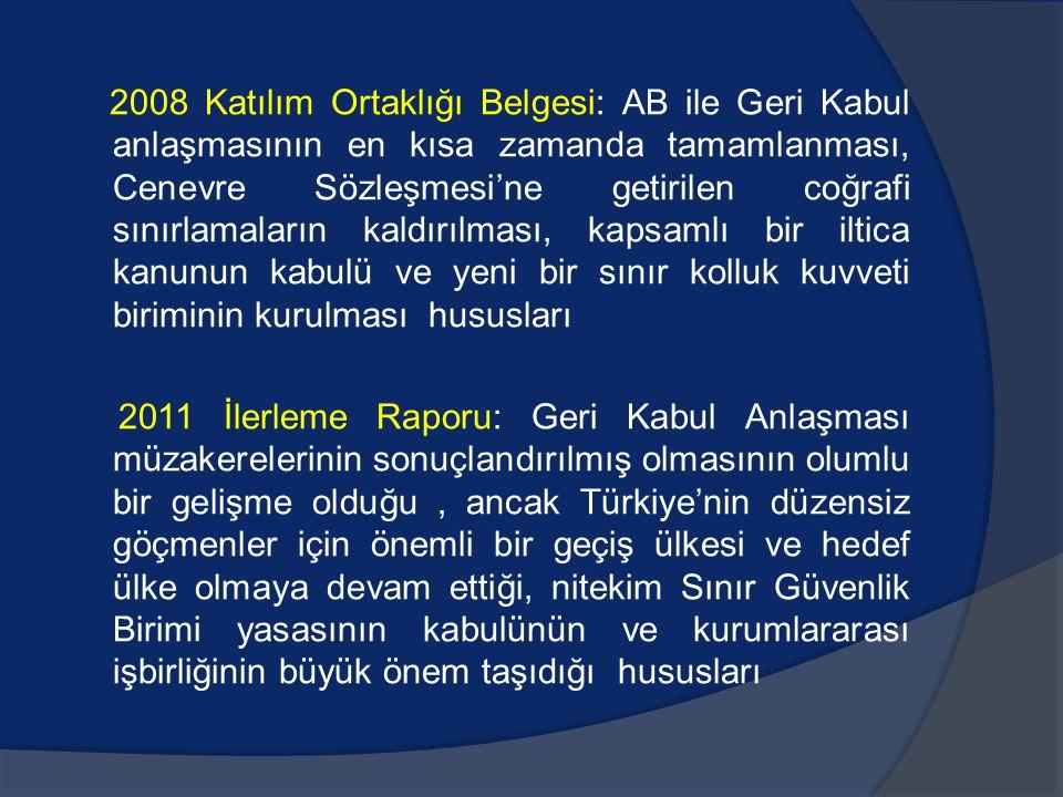 2008 Katılım Ortaklığı Belgesi: AB ile Geri Kabul anlaşmasının en kısa zamanda tamamlanması, Cenevre Sözleşmesi'ne getirilen coğrafi sınırlamaların kaldırılması, kapsamlı bir iltica kanunun kabulü ve yeni bir sınır kolluk kuvveti biriminin kurulması hususları 2011 İlerleme Raporu: Geri Kabul Anlaşması müzakerelerinin sonuçlandırılmış olmasının olumlu bir gelişme olduğu, ancak Türkiye'nin düzensiz göçmenler için önemli bir geçiş ülkesi ve hedef ülke olmaya devam ettiği, nitekim Sınır Güvenlik Birimi yasasının kabulünün ve kurumlararası işbirliğinin büyük önem taşıdığı hususları