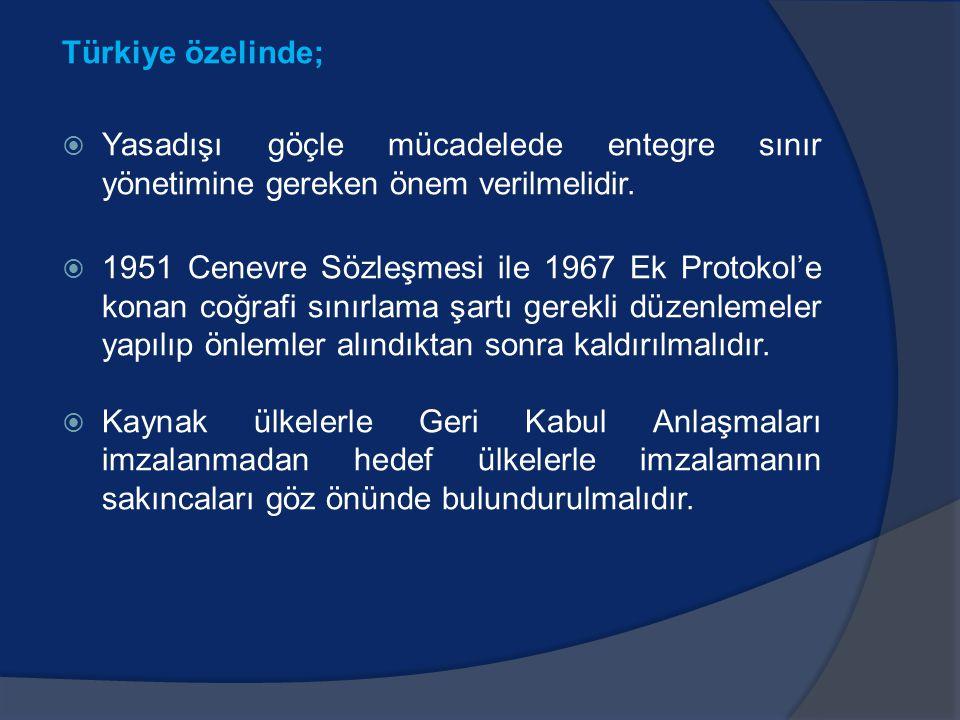 Türkiye özelinde;  Yasadışı göçle mücadelede entegre sınır yönetimine gereken önem verilmelidir.