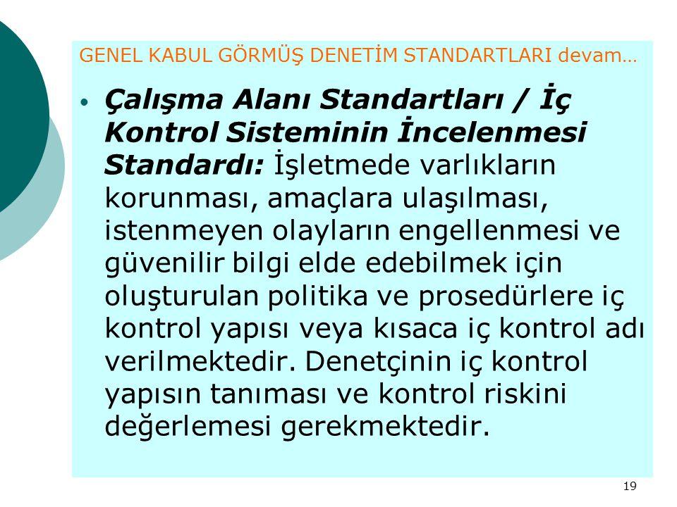 19 GENEL KABUL GÖRMÜŞ DENETİM STANDARTLARI devam… Çalışma Alanı Standartları / İç Kontrol Sisteminin İncelenmesi Standardı: İşletmede varlıkların koru